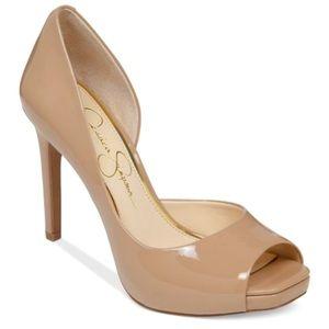 JESSICA SIMPSON Josette Nude Patent Peep Toe heels